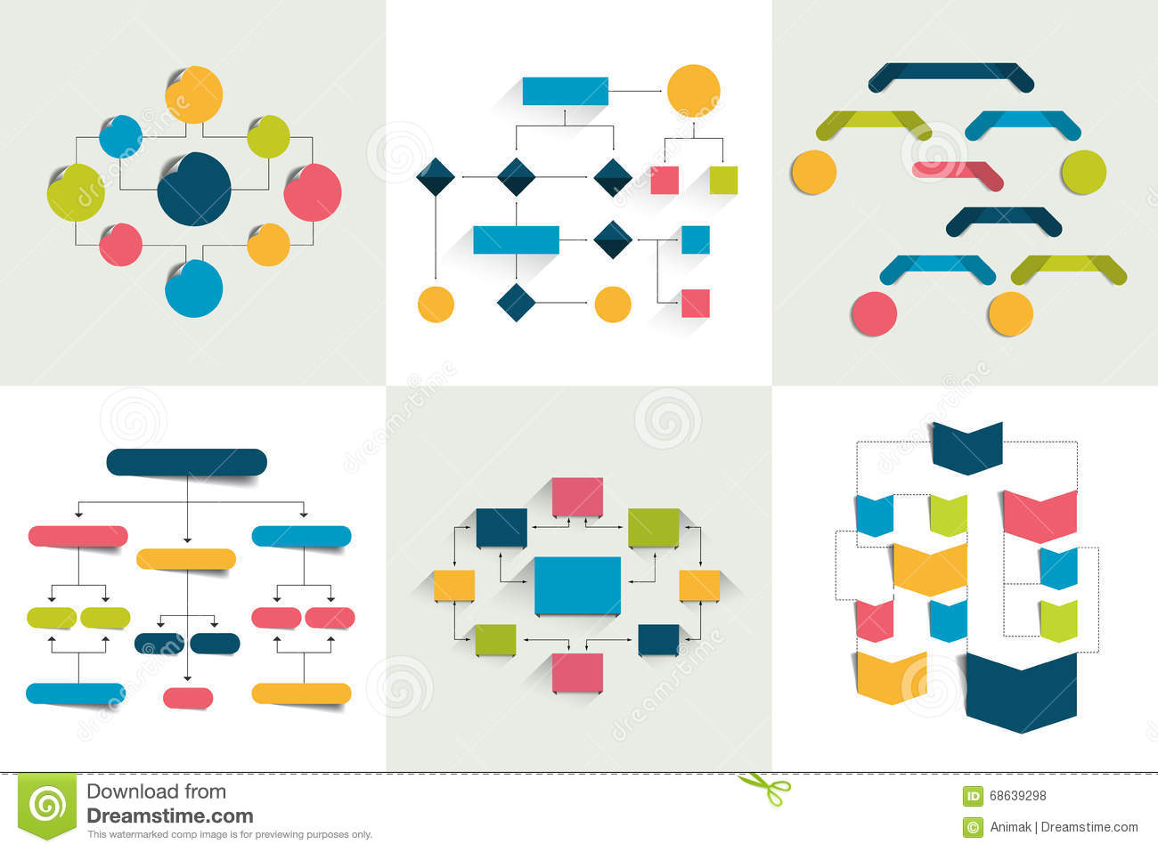 Flowcharts. Set of 6 flow charts schemes, diagrams. Simply color editable.