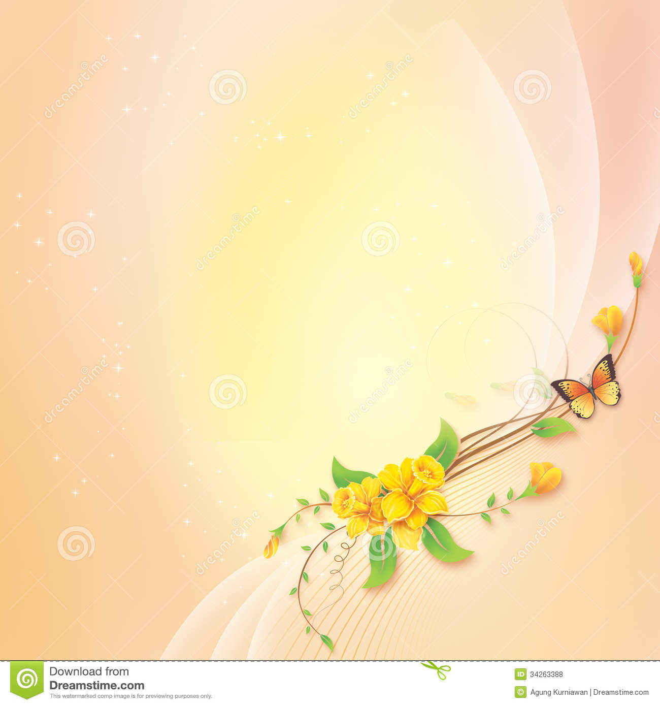 Flower With Abstract Background For Greeting Card Royalty