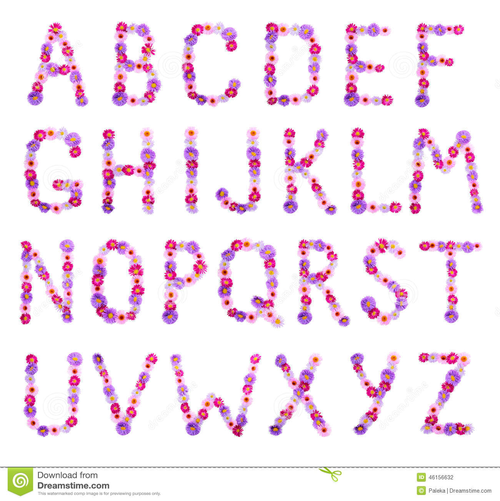 Flower alphabet stock photo. Image of font, image, color - 46156632
