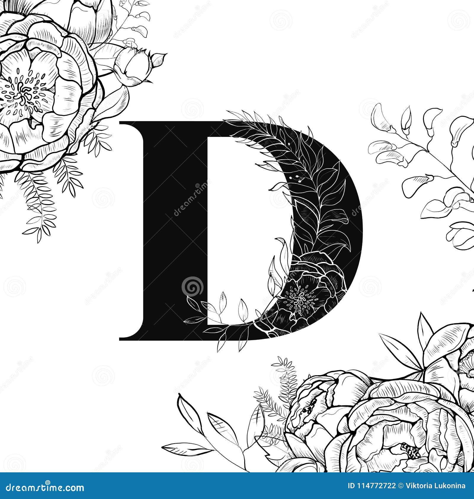 flower alphabet letter d pattern