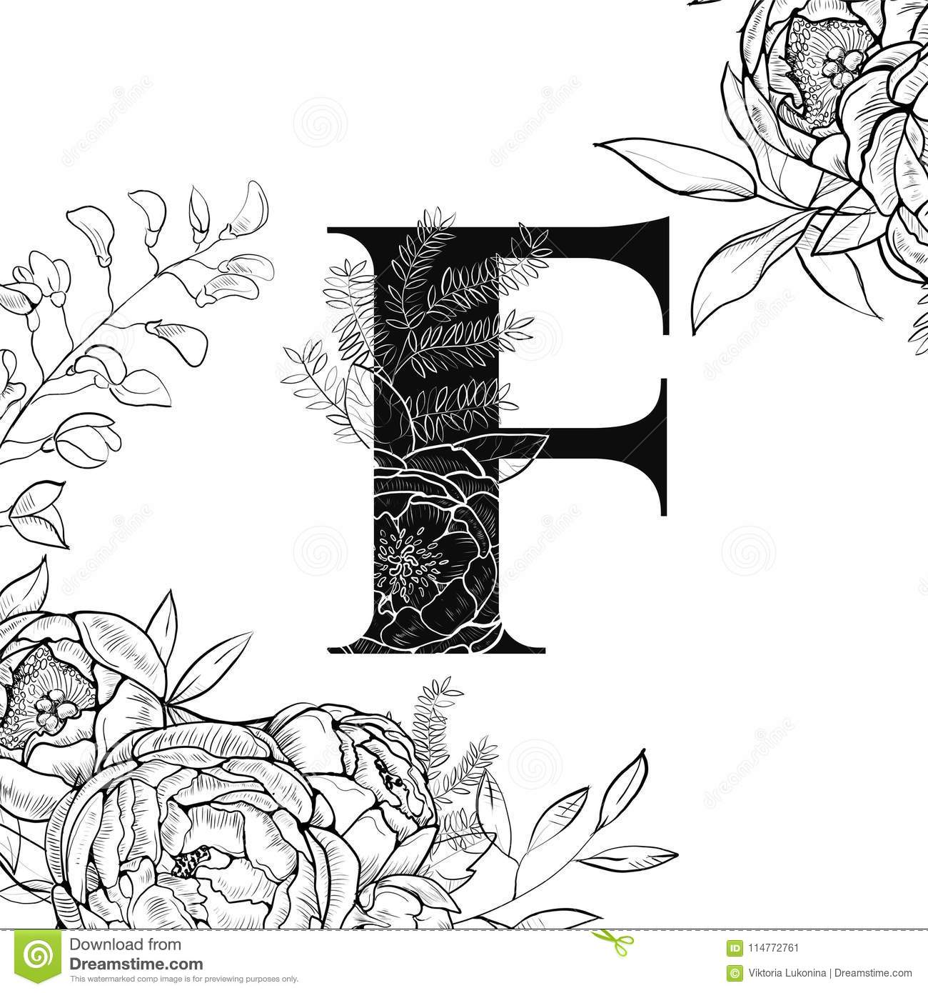 Flower Alphabet Letter F Pattern