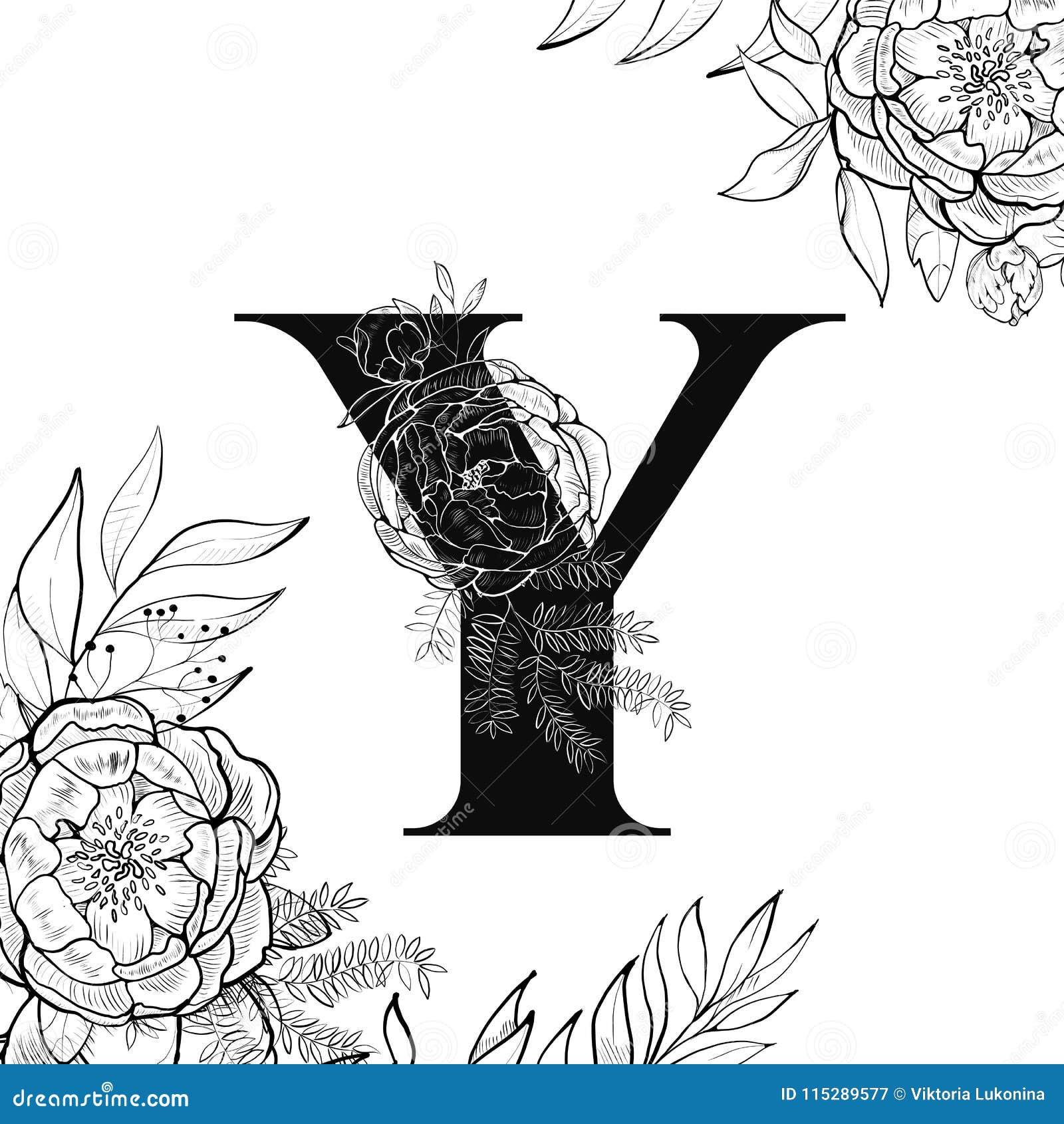 Flower Alphabet Letter Y Pattern Stock Vector Illustration Of
