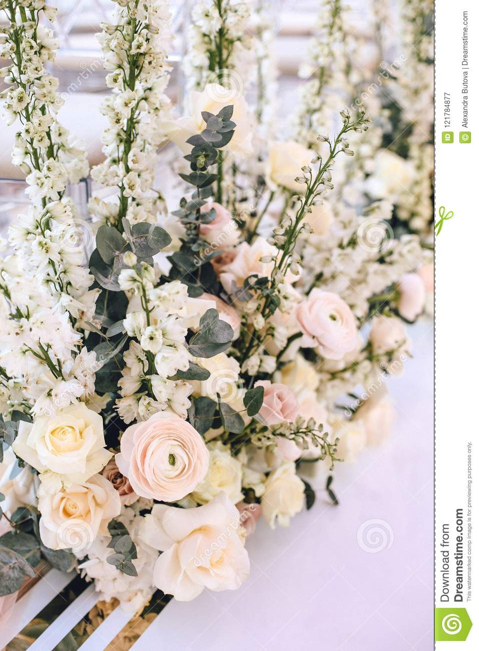 Flower Arrangement Bouquet Of Pink Roses Ranunculus And White Bells