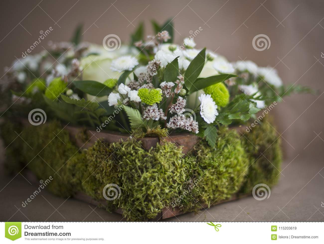 Flower Arrangement In A Box Stock Image Image Of Chrysanthemum Fantasy 115203619