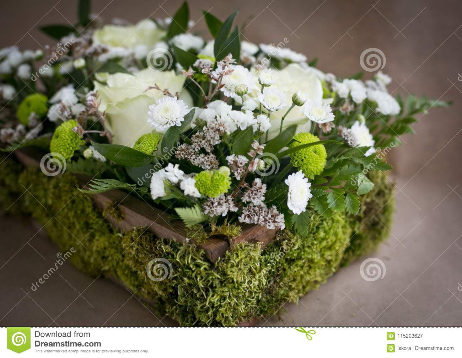 Flower Arrangement In A Box Stock Image Image Of Chamomilen Flower 115203627