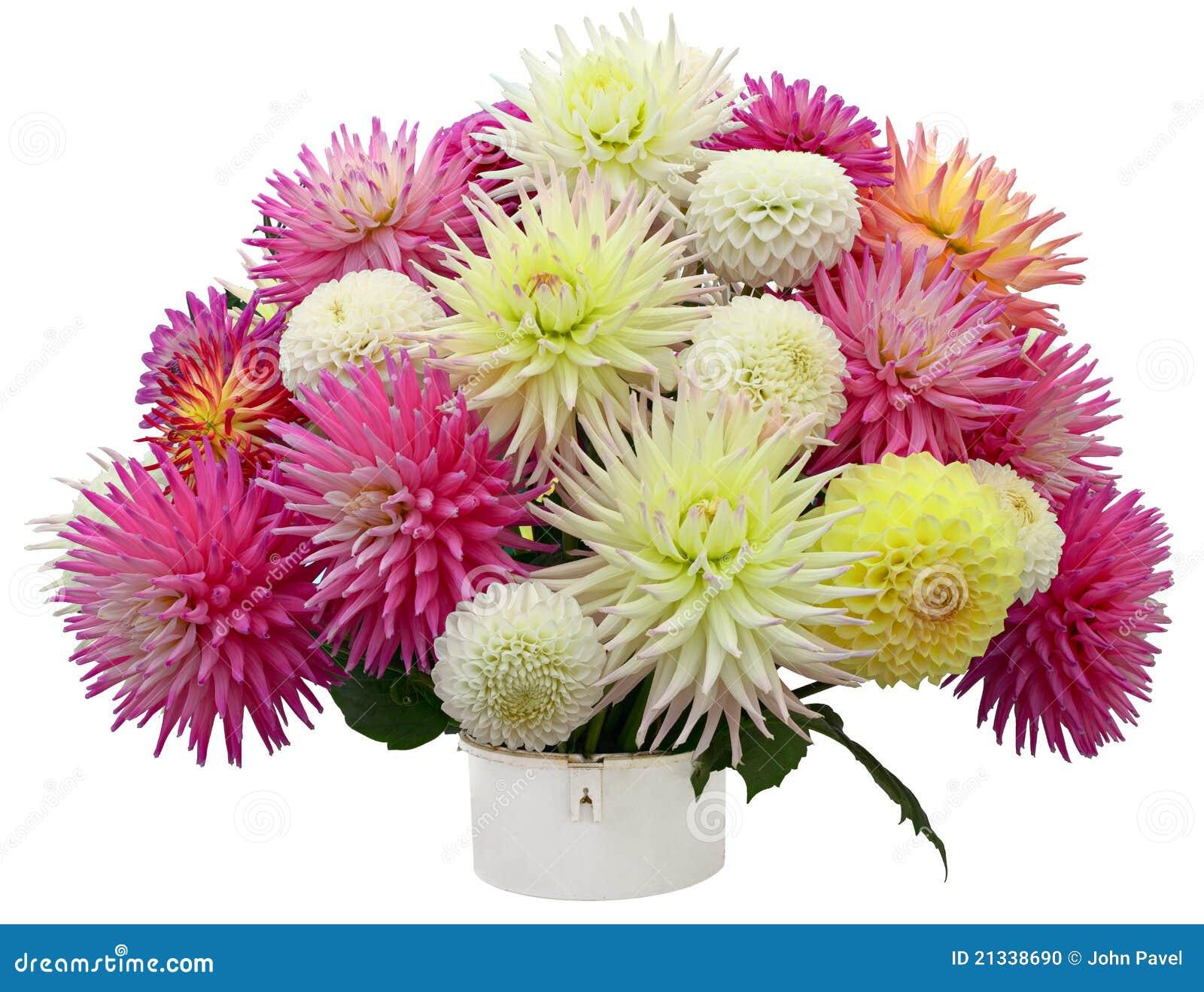 Flower Arrangement Of Chrysanthemums And Dahlias Stock