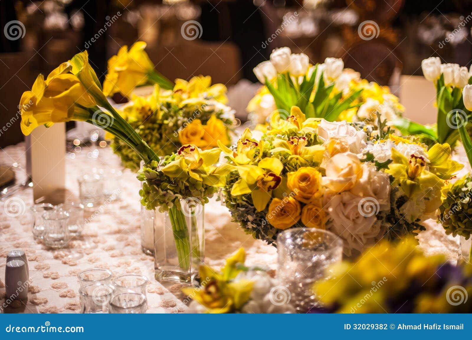 Flower Arrangement On A Elegant Dinner Table Stock ... Dining Chair Clipart