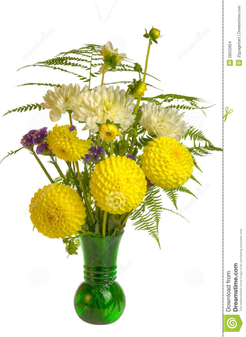 Flower Arrangement With Ferns And Yellow Flowers Stock Photo Image
