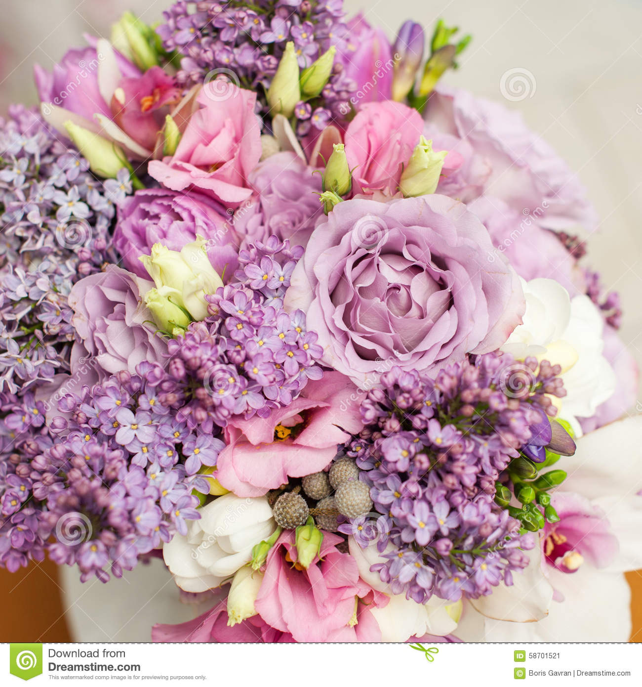 Flower Arrangement With Lilac And Eustoma Flowers Stock Image ...