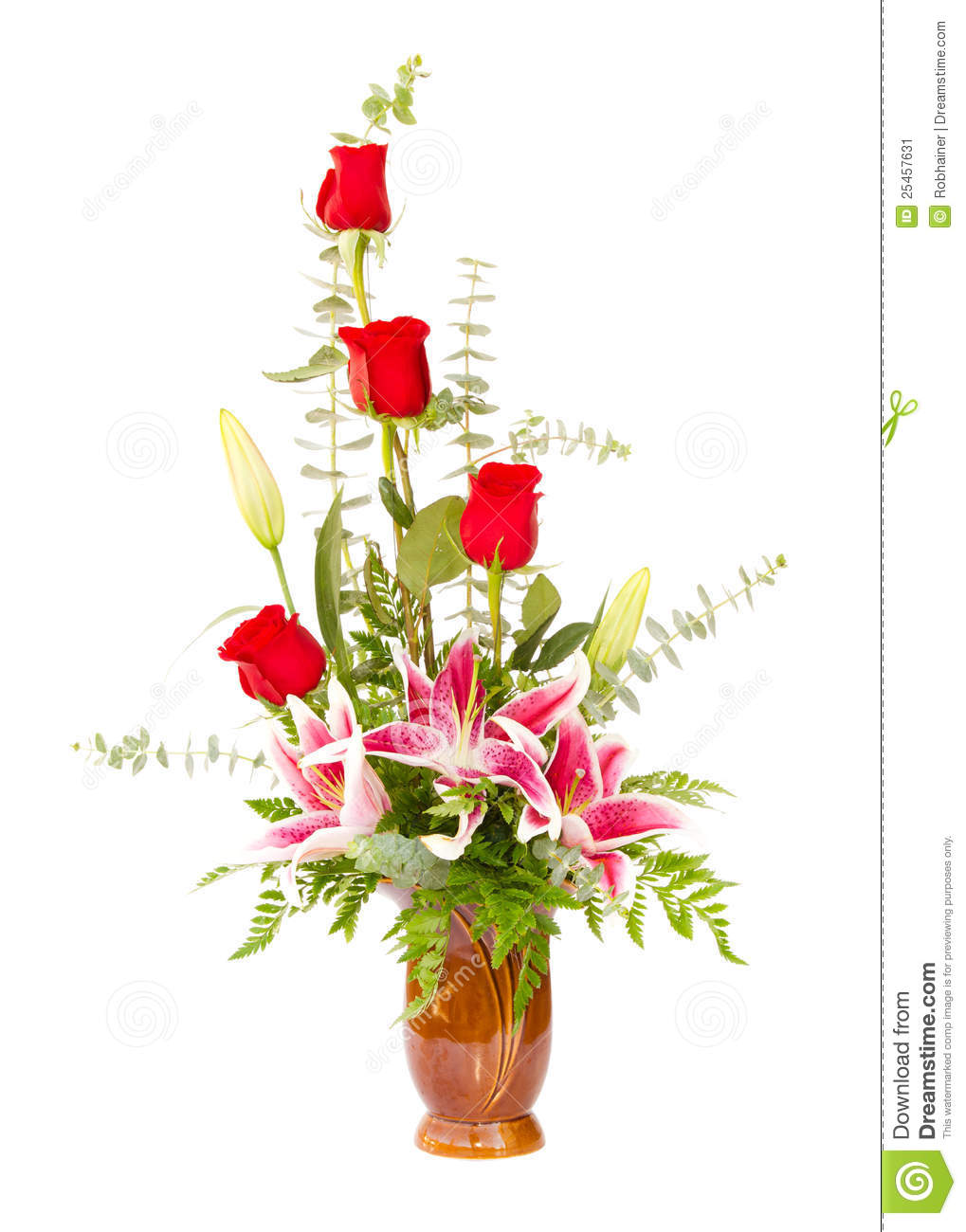 Flower Arrangement With Lily And Roses Stock Image Image Of