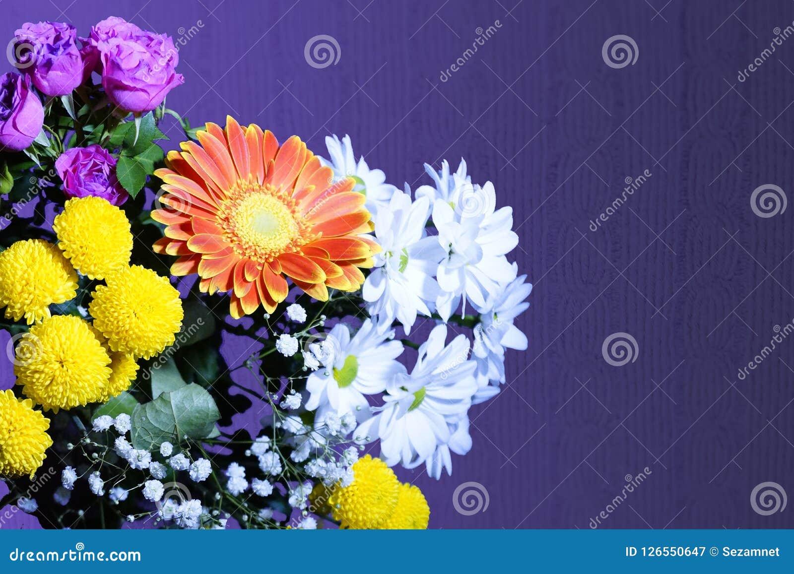 Flower Arrangement Of Orange White Pink Yellow Flowers Stock Image
