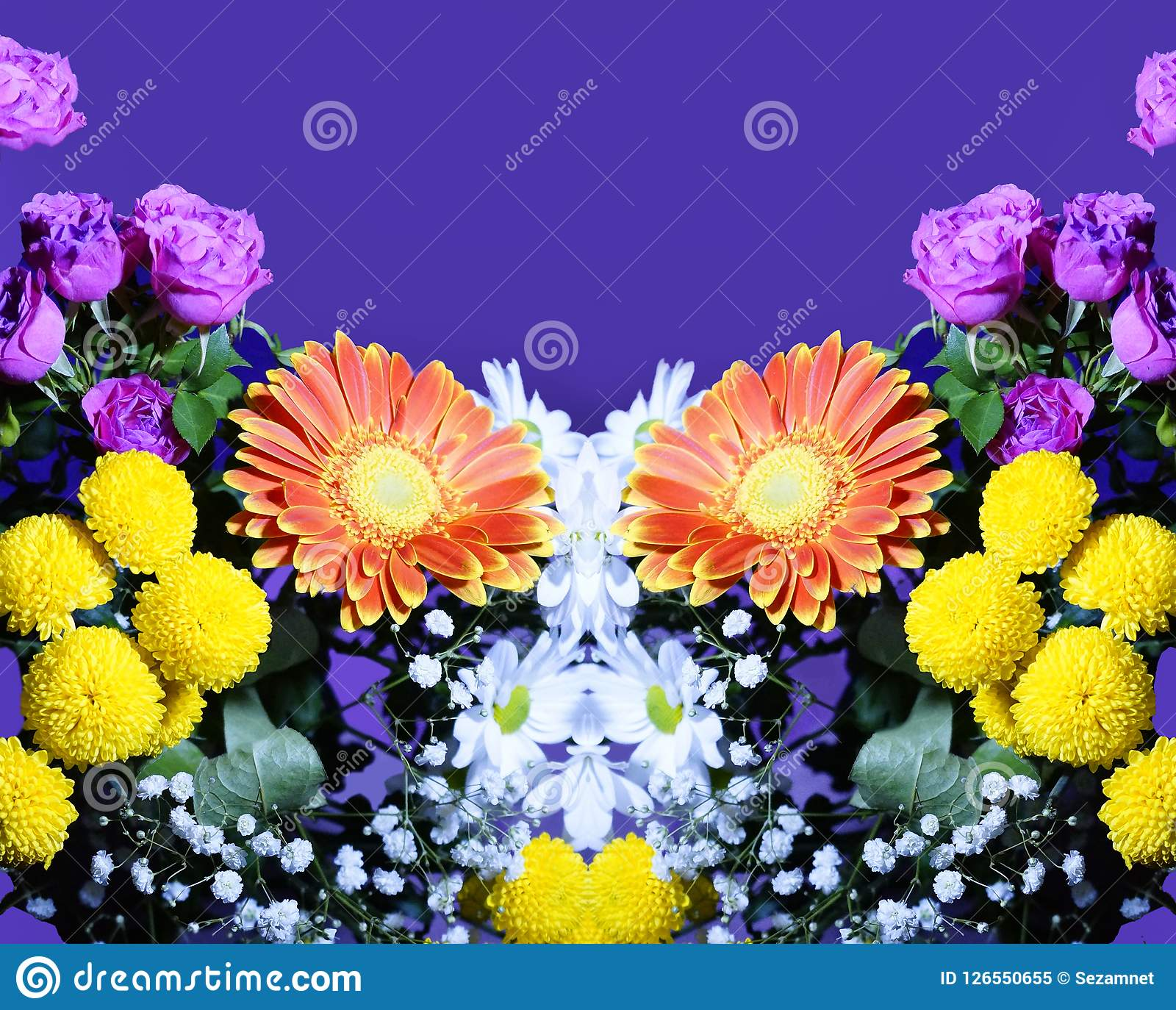 Flower arrangement of orange white pink yellow flowers stock image flower arrangement of orange white pink yellow flowers purple background mightylinksfo