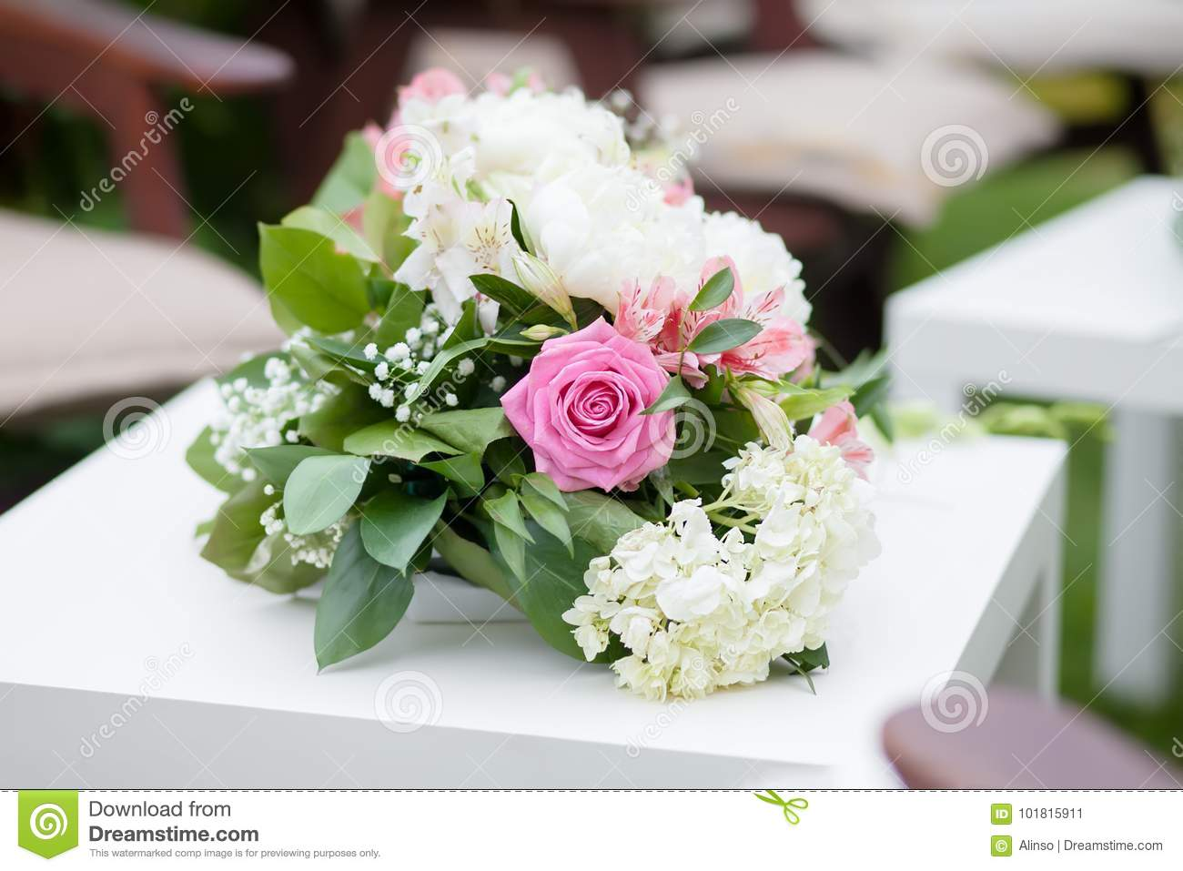 Flower Arrangement With Pink And White Roses Wedding Day Outdoors