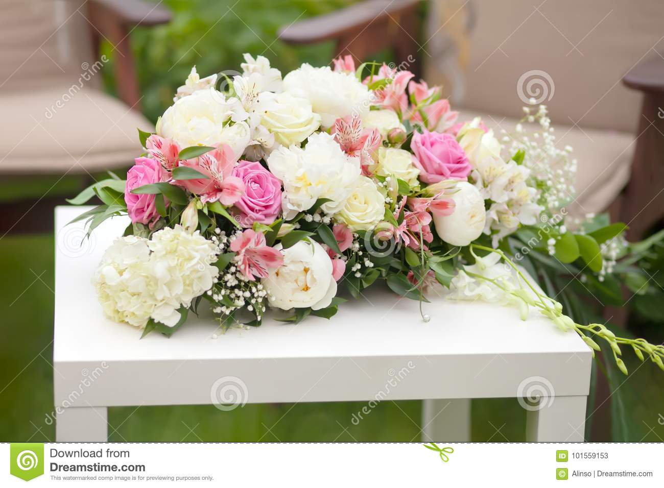 Flower arrangement with pink and white roses wedding day outdoors download flower arrangement with pink and white roses wedding day outdoors stock image mightylinksfo