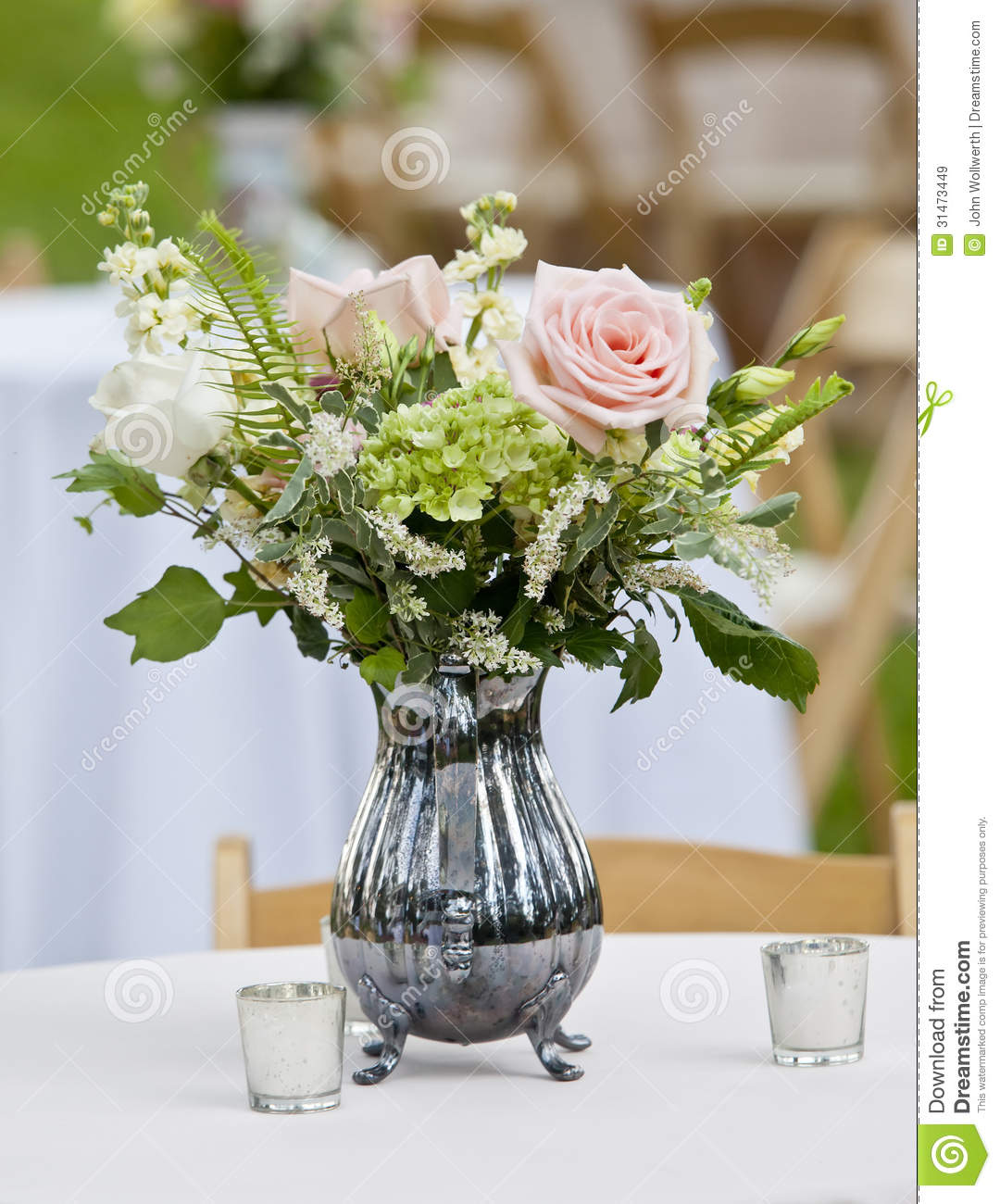 Flower Arrangement In Pitcher Royalty Free Stock Images