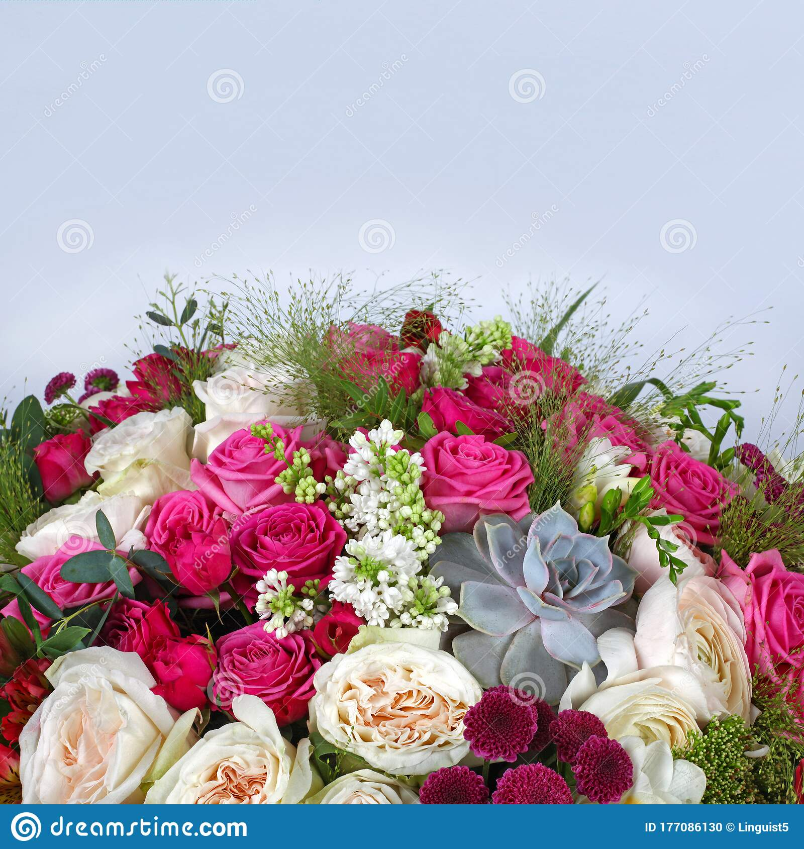 Flower Arrangement With Roses On Light Grey Blue Background Stock Photo Image Of Bunch Aspidistra 177086130