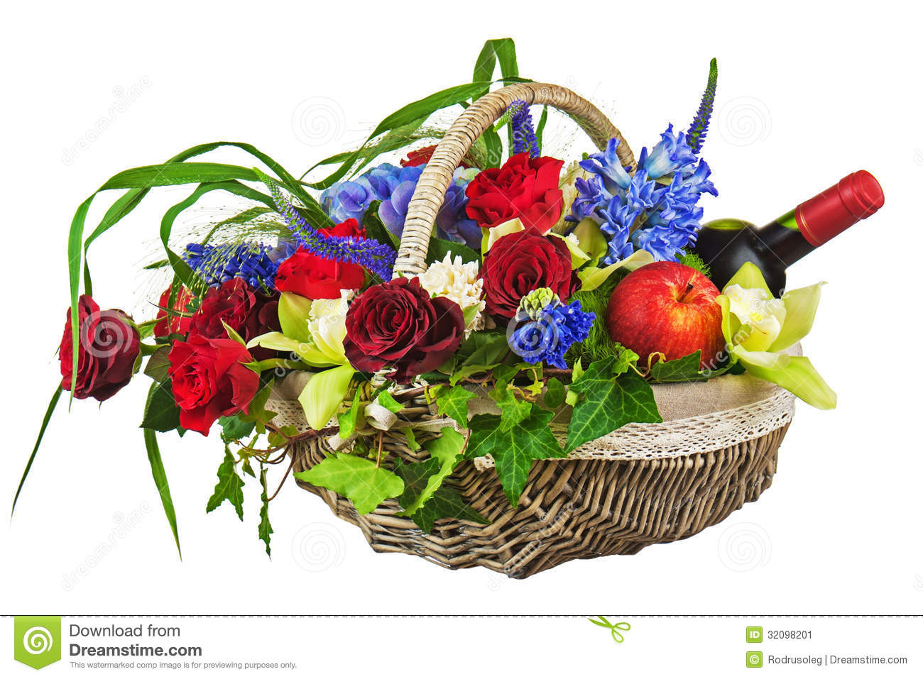Flower Arrangement Of Roses Orchids Fruits And Bottle Of Wine Stock Image