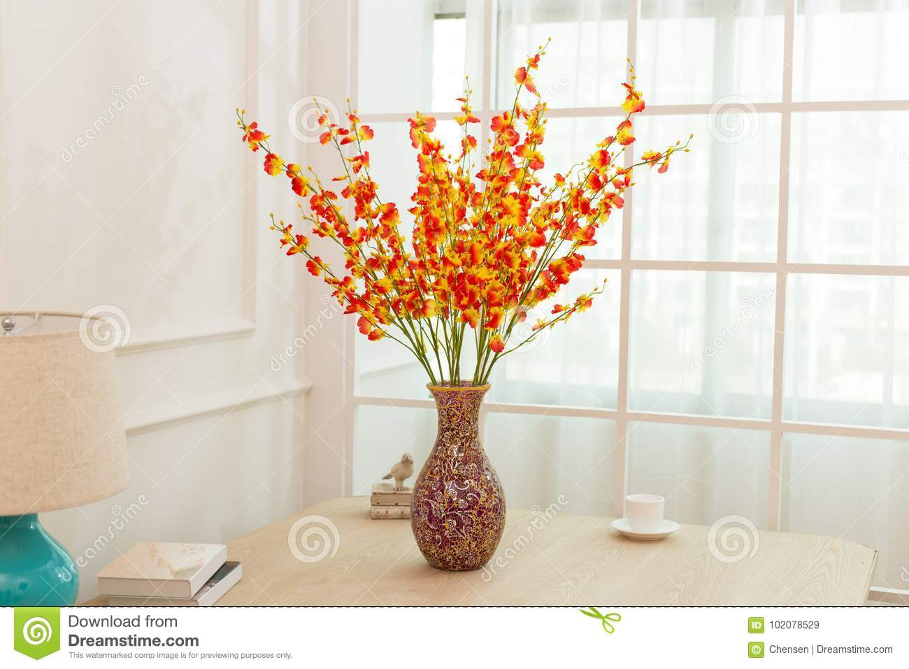 Flower Arrangement On Table Office Desk Stock Image Image Of Bottle Brides 102078529