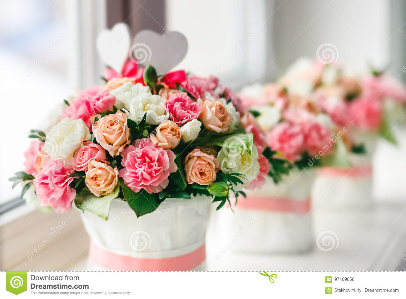 Flower Arrangement Of White Pink And Peach Roses At The Windowsill