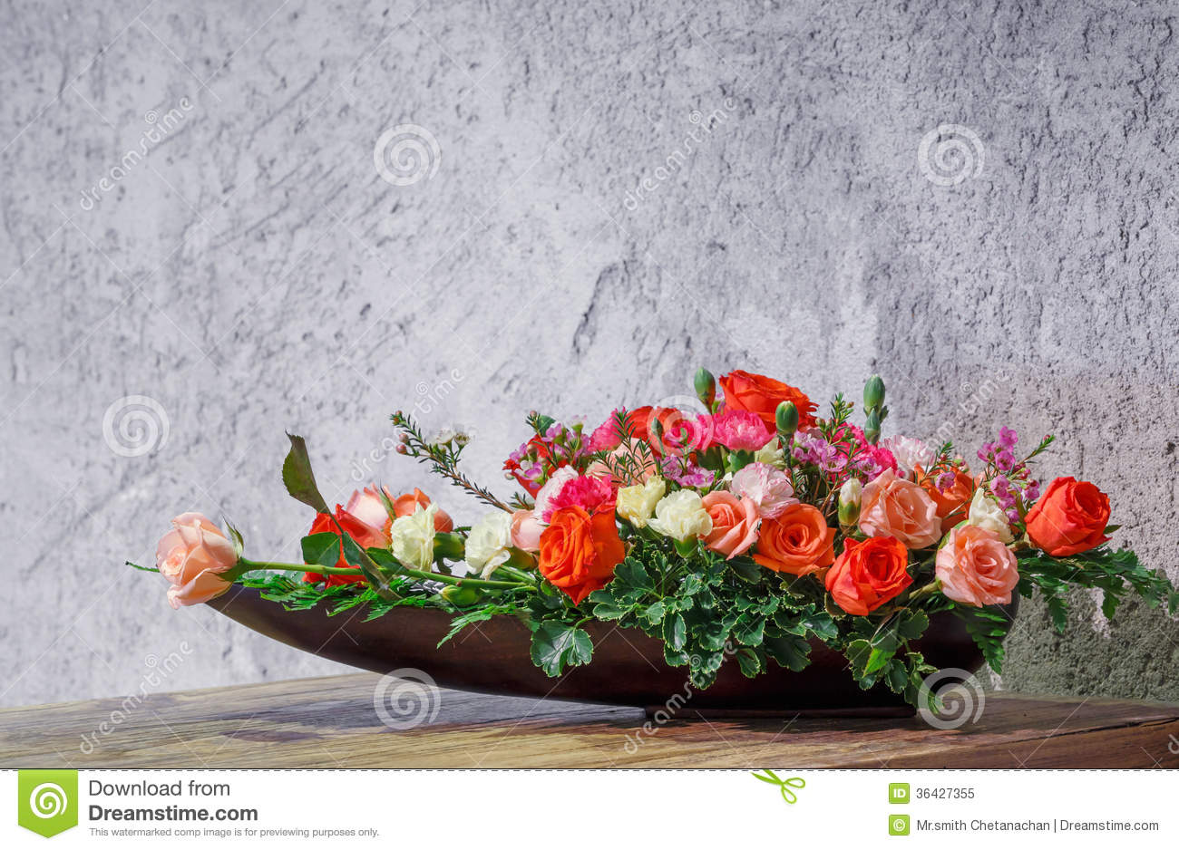 Flower Arrangement In Wooden Tray Royalty Free Stock Photo Image 36427355