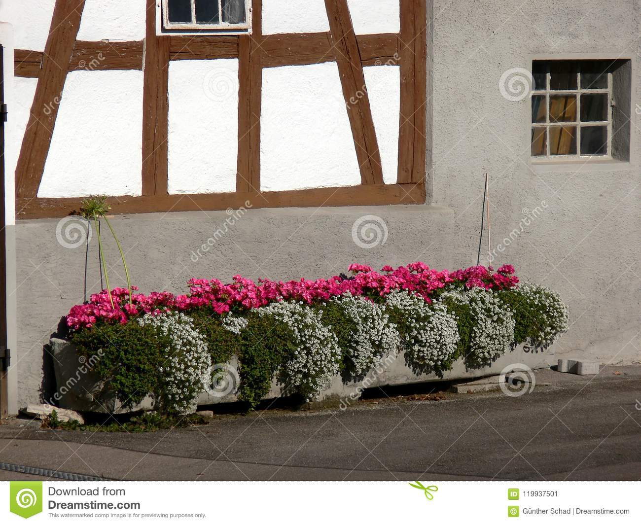 Timber Framed Facade With Large Flower Trough Stock Image Image Of