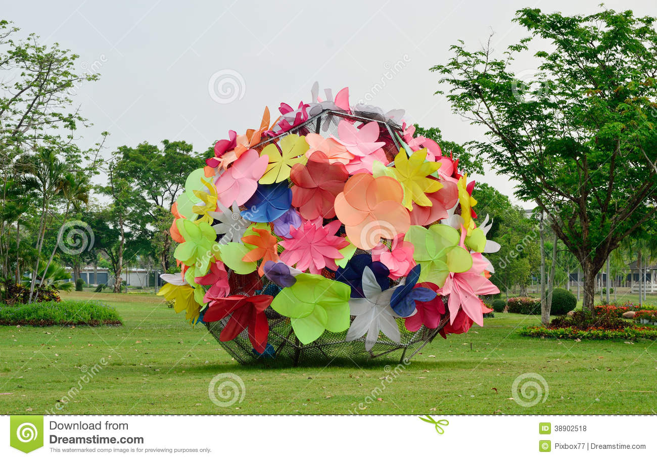 Flower Art Sculpture In Garden