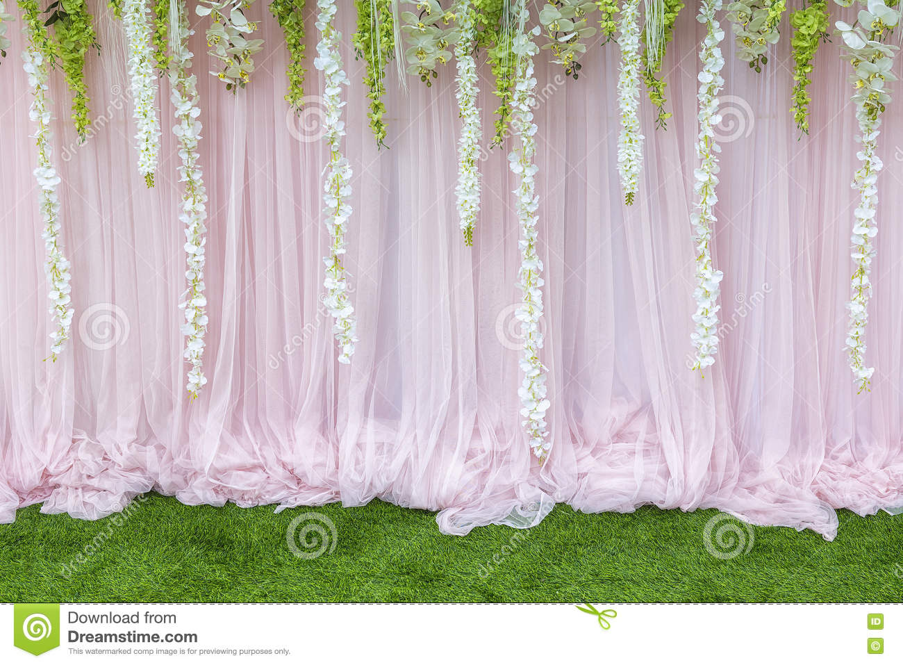 Flower Backdrop,the Backdrop In The Wedding Ceremony Stock Photo ...