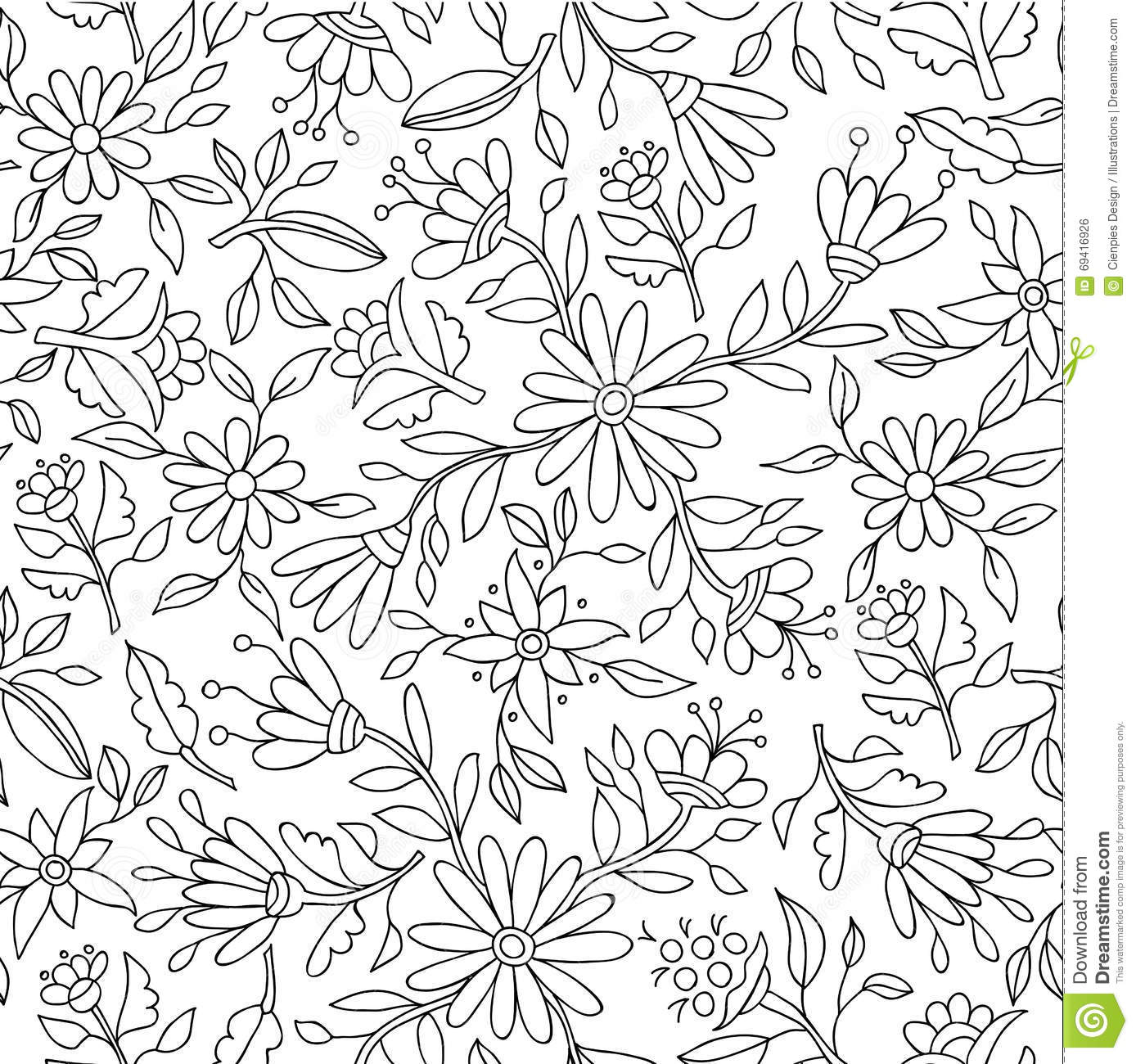 Flower Background In Black And White For Coloring Stock