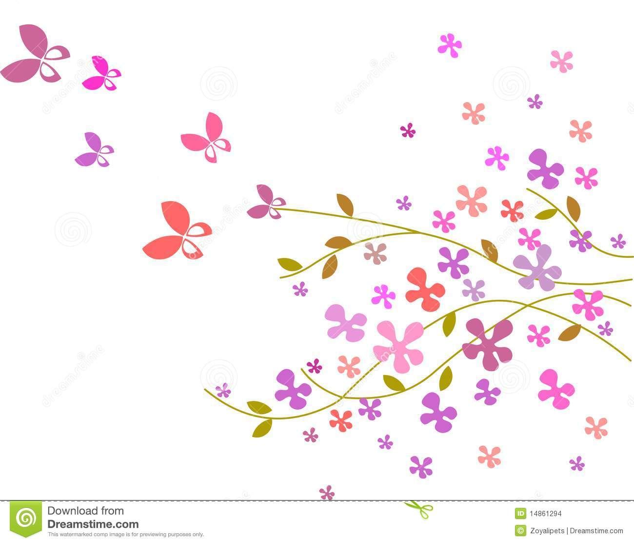 Flower background with butterflies -3