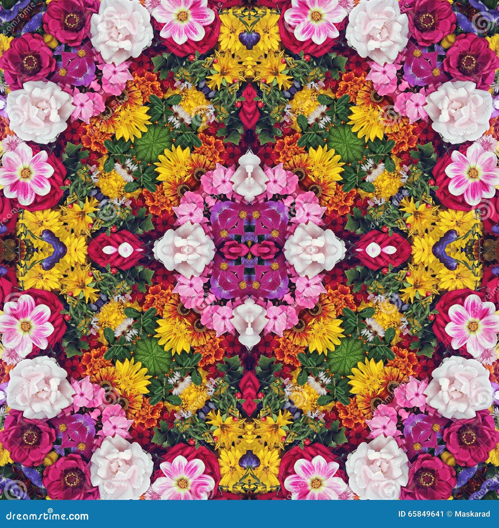 Flower background. Effect of a kaleidoscope.