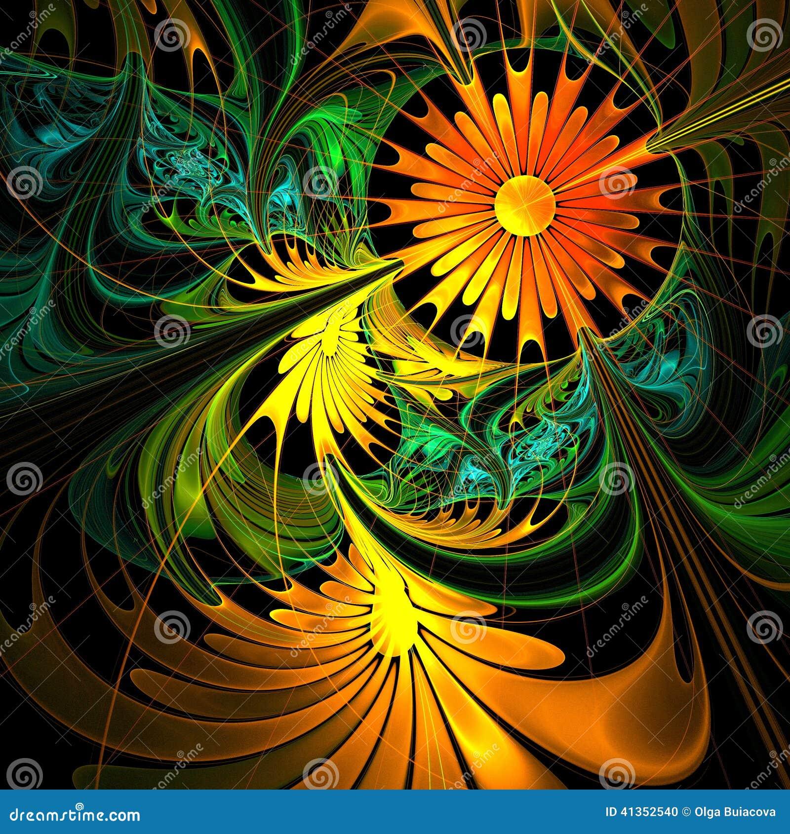 Fractal Black Flower Free Stock Photo: Flower Background. Orange And Green Palette. Stock