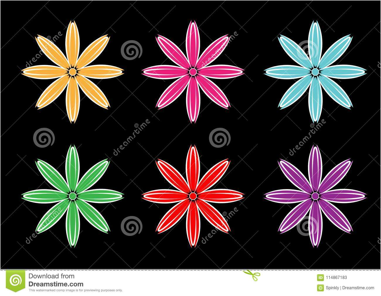 Flower background vector designs in different colors