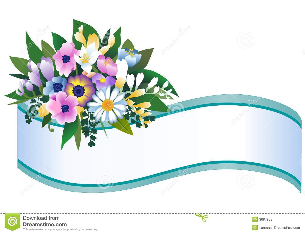 Decorative banner with bouquet of flowers.