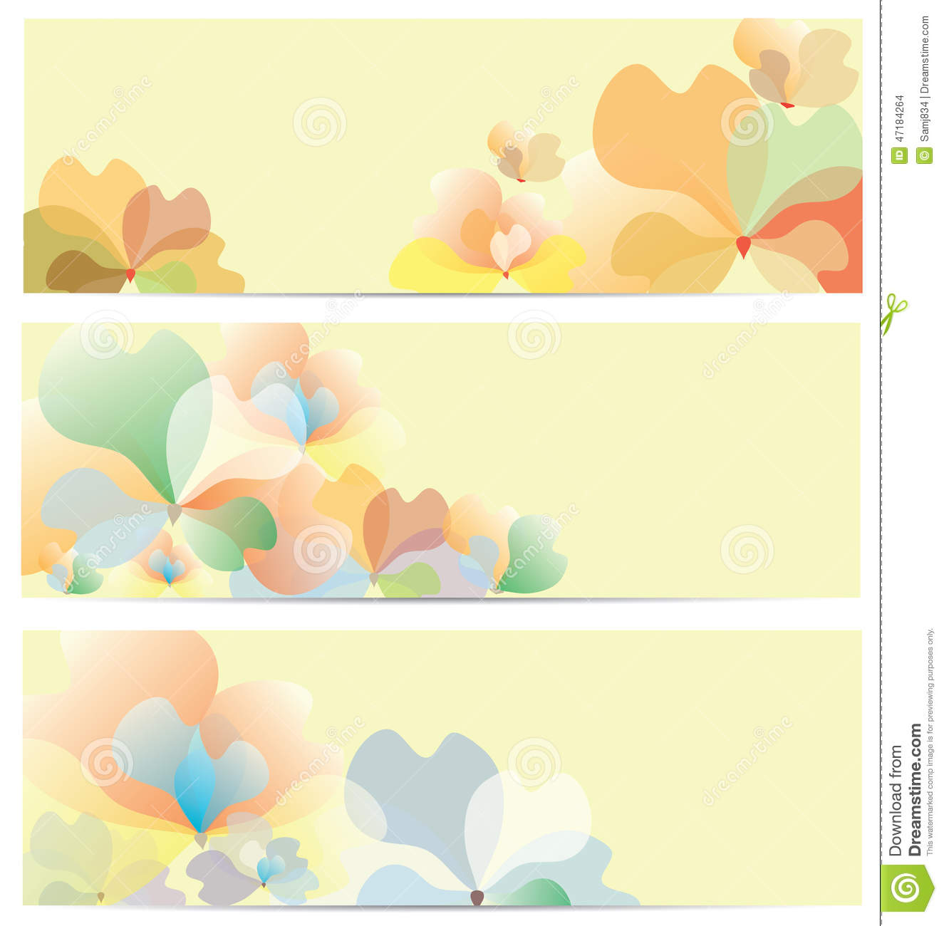 flower banner background set stock vector illustration of pattern illustration 47184264. Black Bedroom Furniture Sets. Home Design Ideas