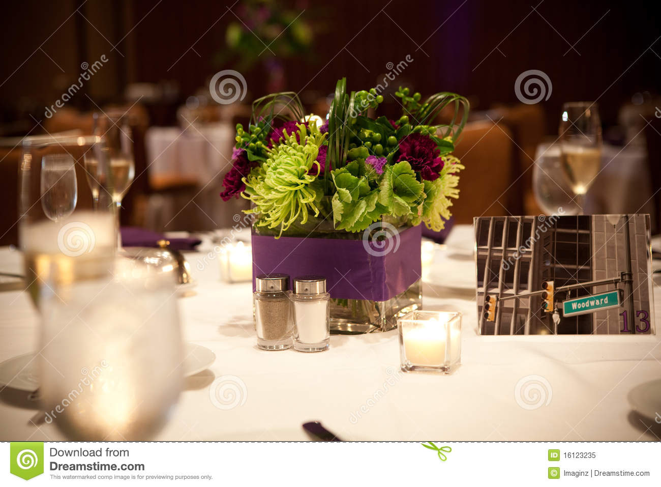 Flower banquet centerpiece royalty free stock photo