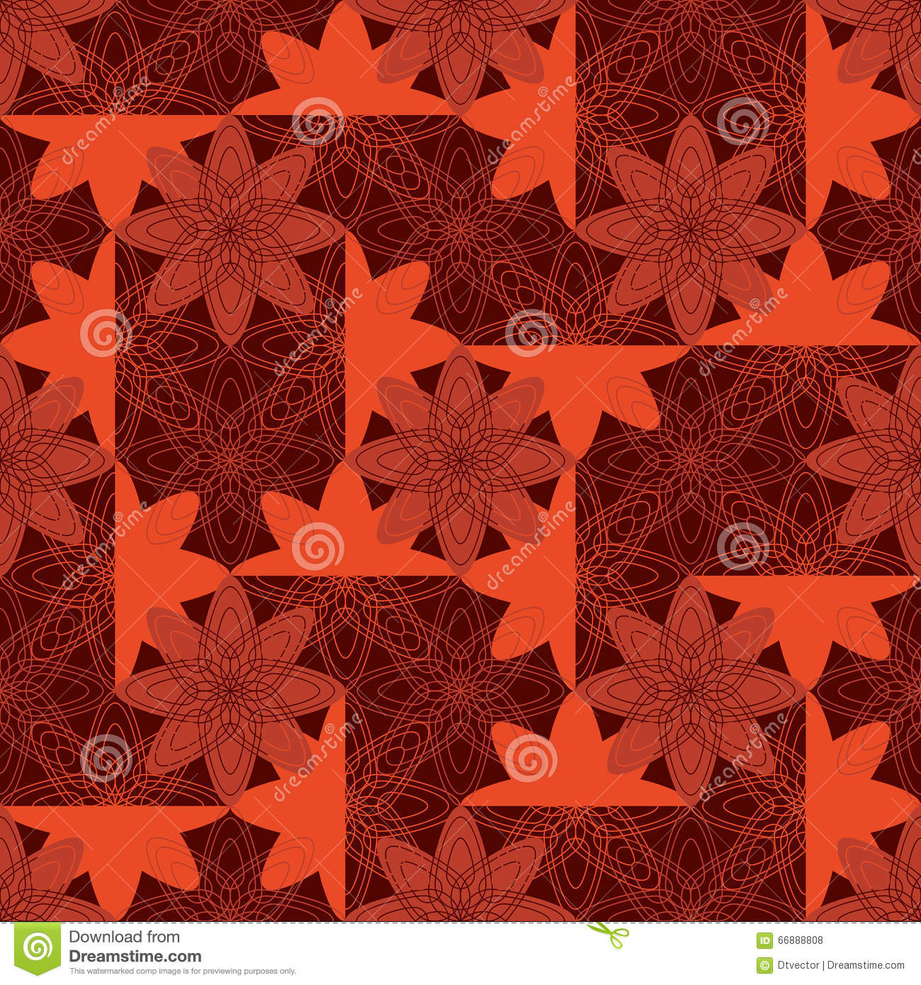 Flower Batik Style Symmetry Seamless Pattern Stock Vector