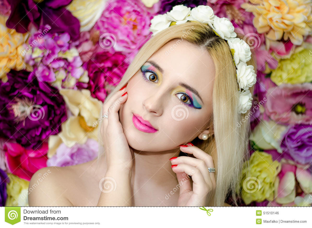 Flower Beauty Girls Stock Image