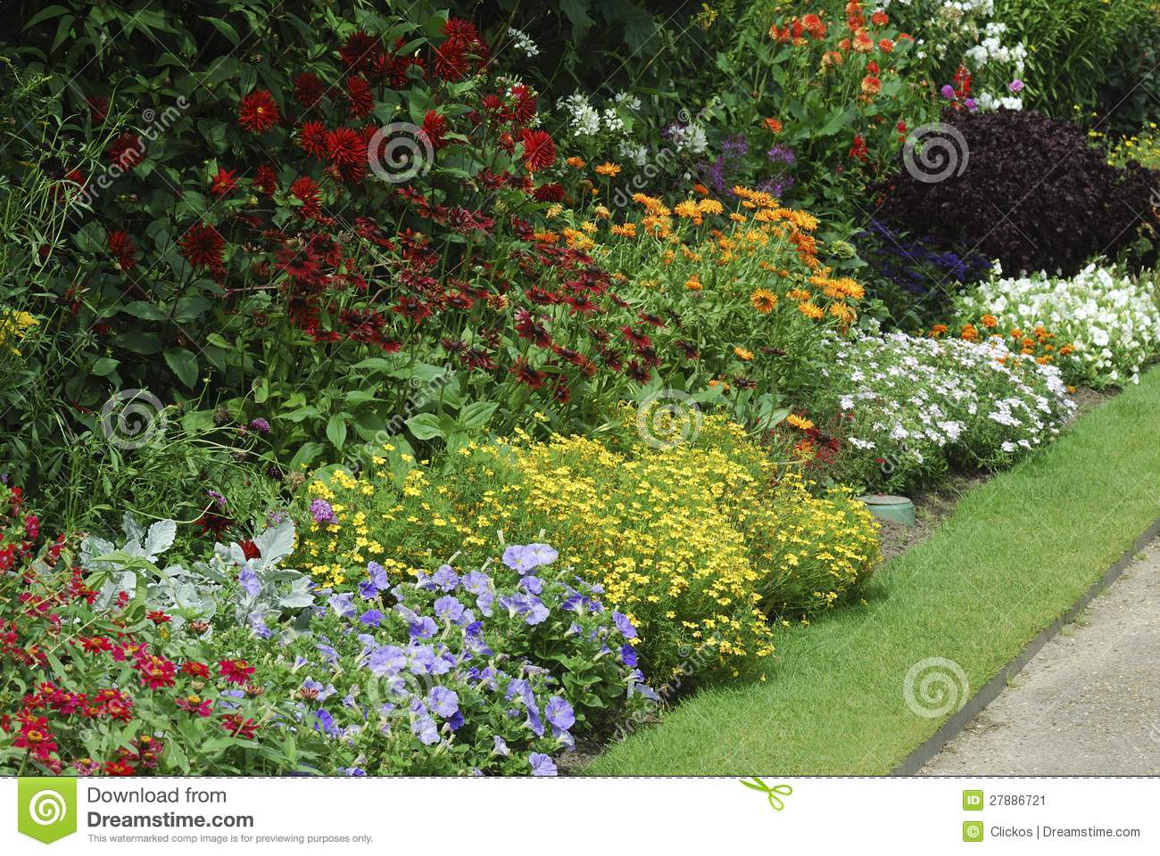flower bed with assorted plants stock image - image: 27886721