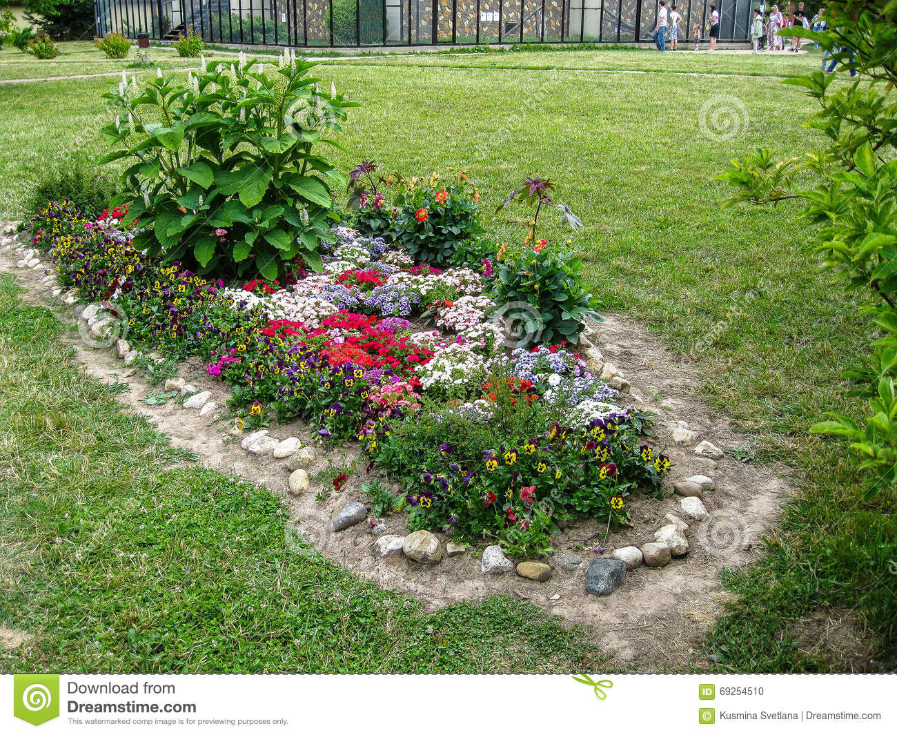 A flower bed in the garden stock photo image 69254510 for Ornamental trees for flower beds