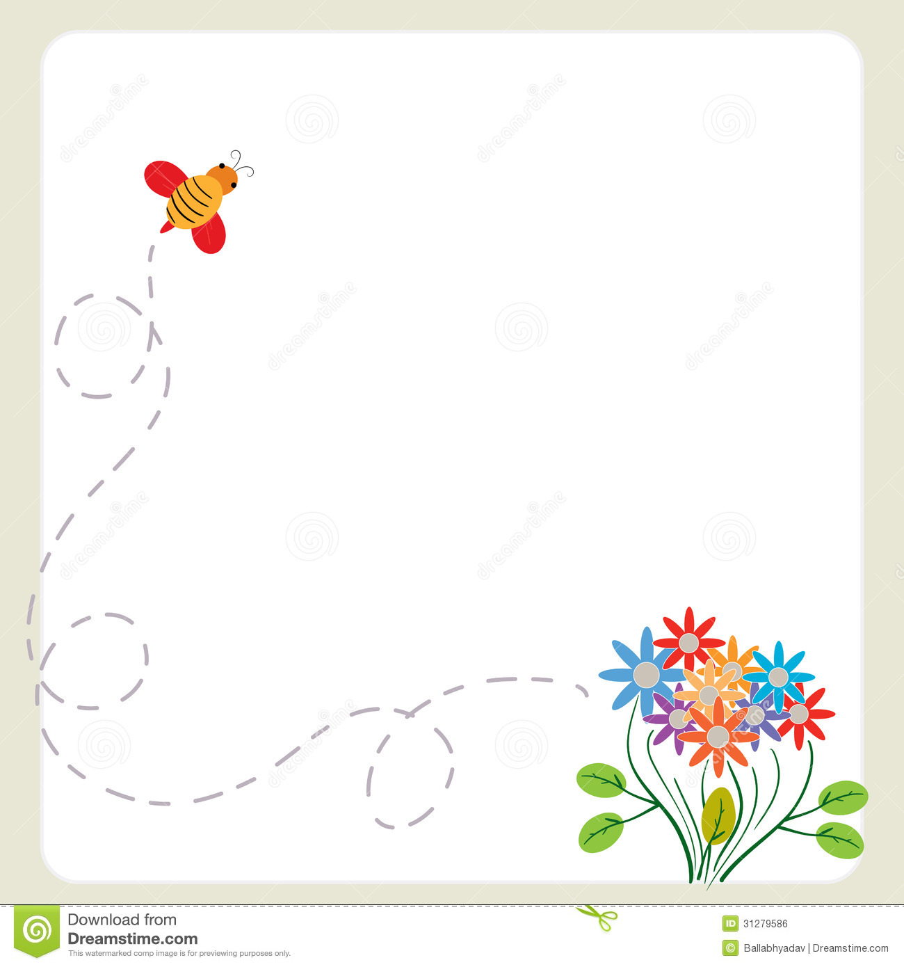 spring flowers and bees clip art