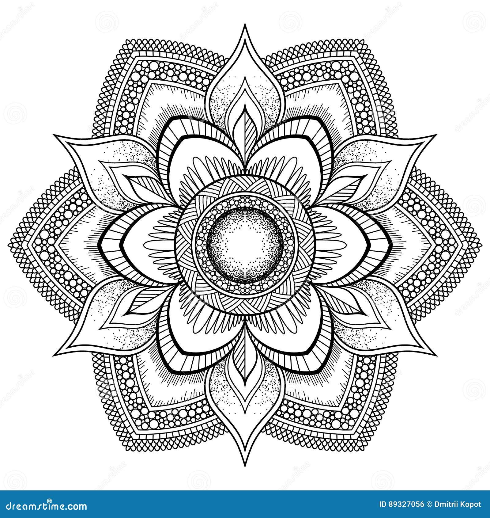 Flower Black Mandala Oriental Pattern Vector Illustration Islam