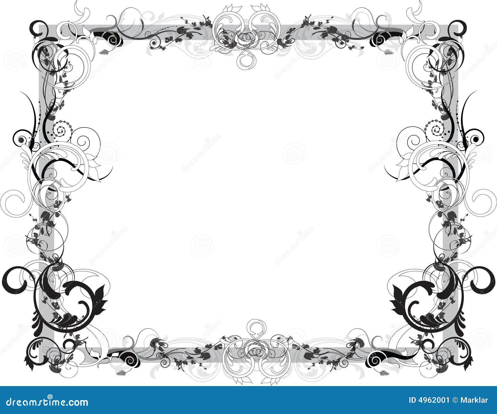 Flower Black And White Frame Stock Vector - Illustration of elegance ...