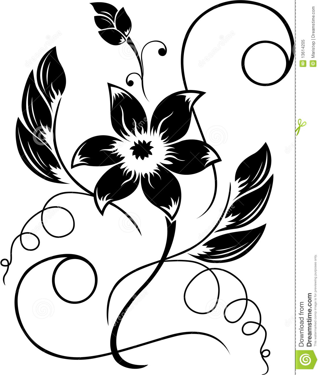 Black Flower And Bud Pattern Royalty Free Stock Photos: Flower Black A White Pattern Stock Vector