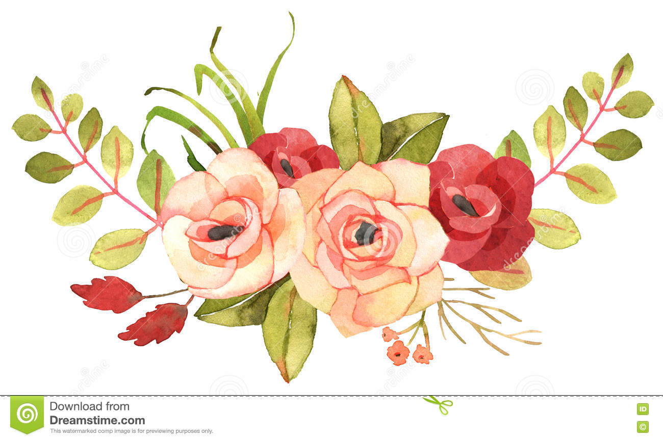 FLower Bohemian Bouquet With Roses. Stock Illustration ...