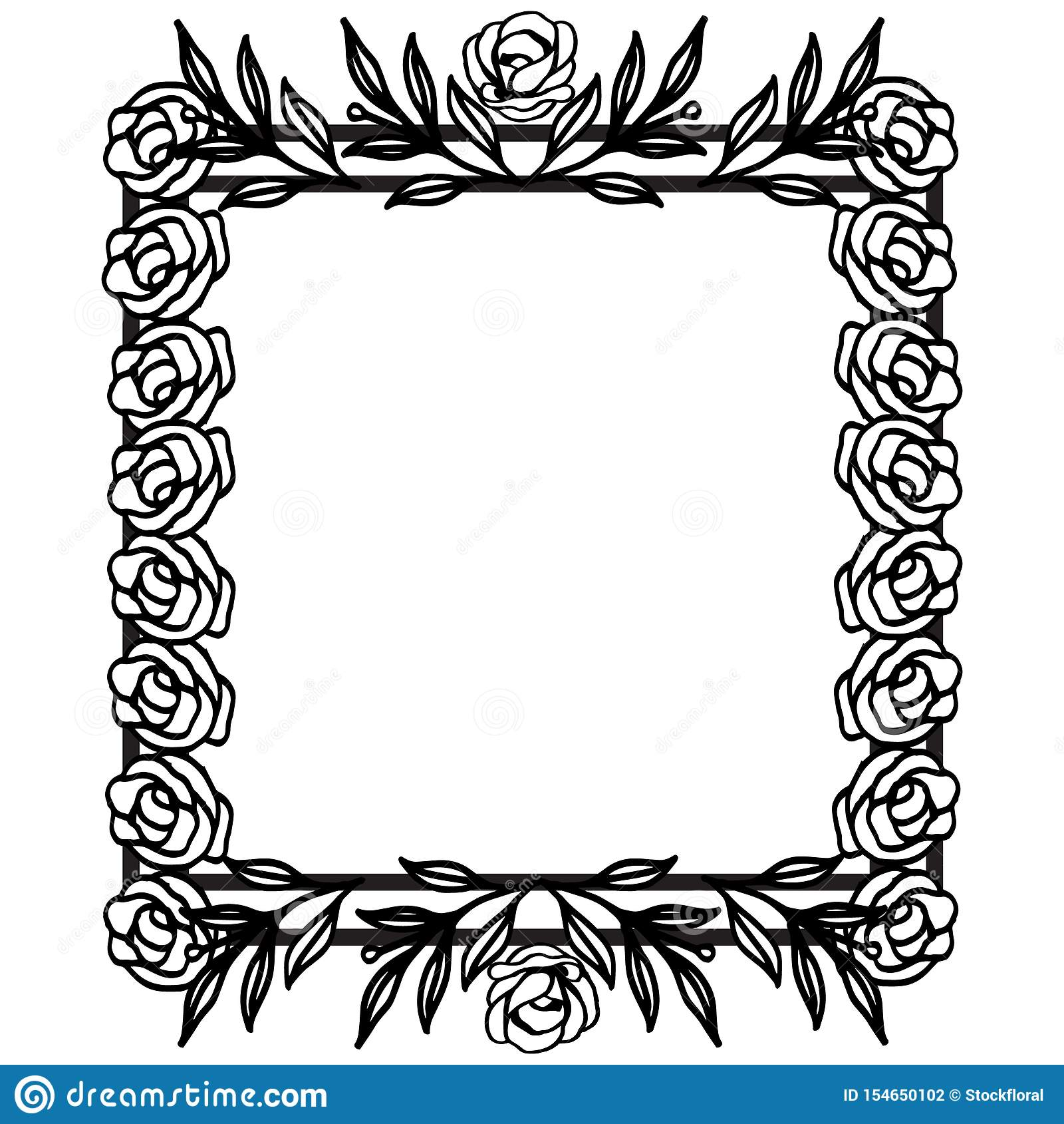Flower Border Frame Template With Decorated Corner For