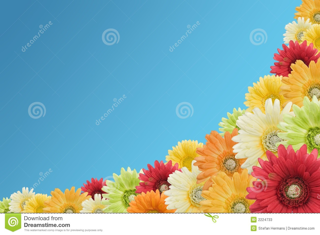 Floral background on a blue background made with artificial flowers