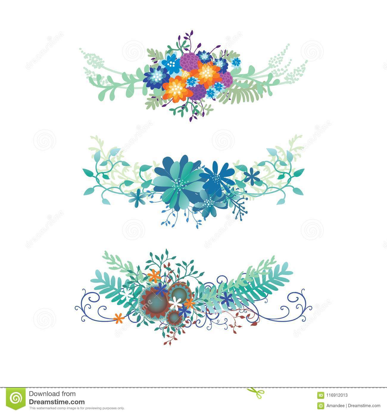 Flower Border Vector With Ivy Vines Ferns And Curl Flourishes In A