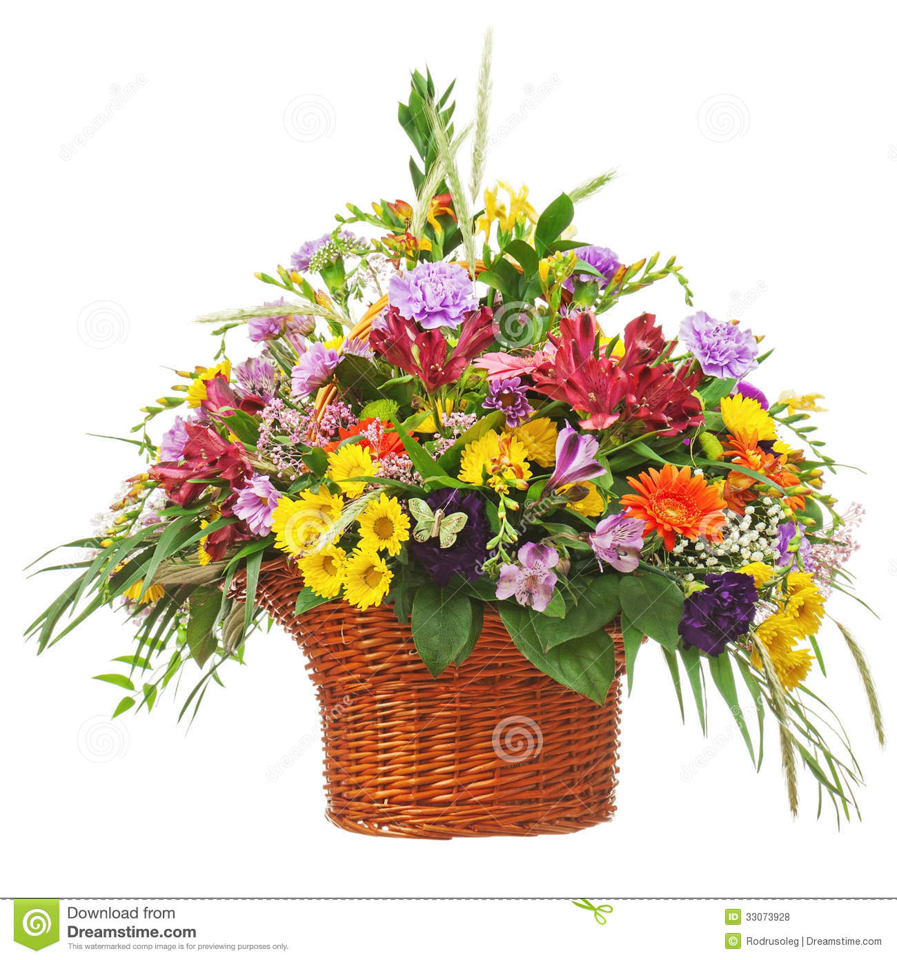 Flower Basket Arrangements Pictures : Flower bouquet arrangement centerpiece in wicker basket