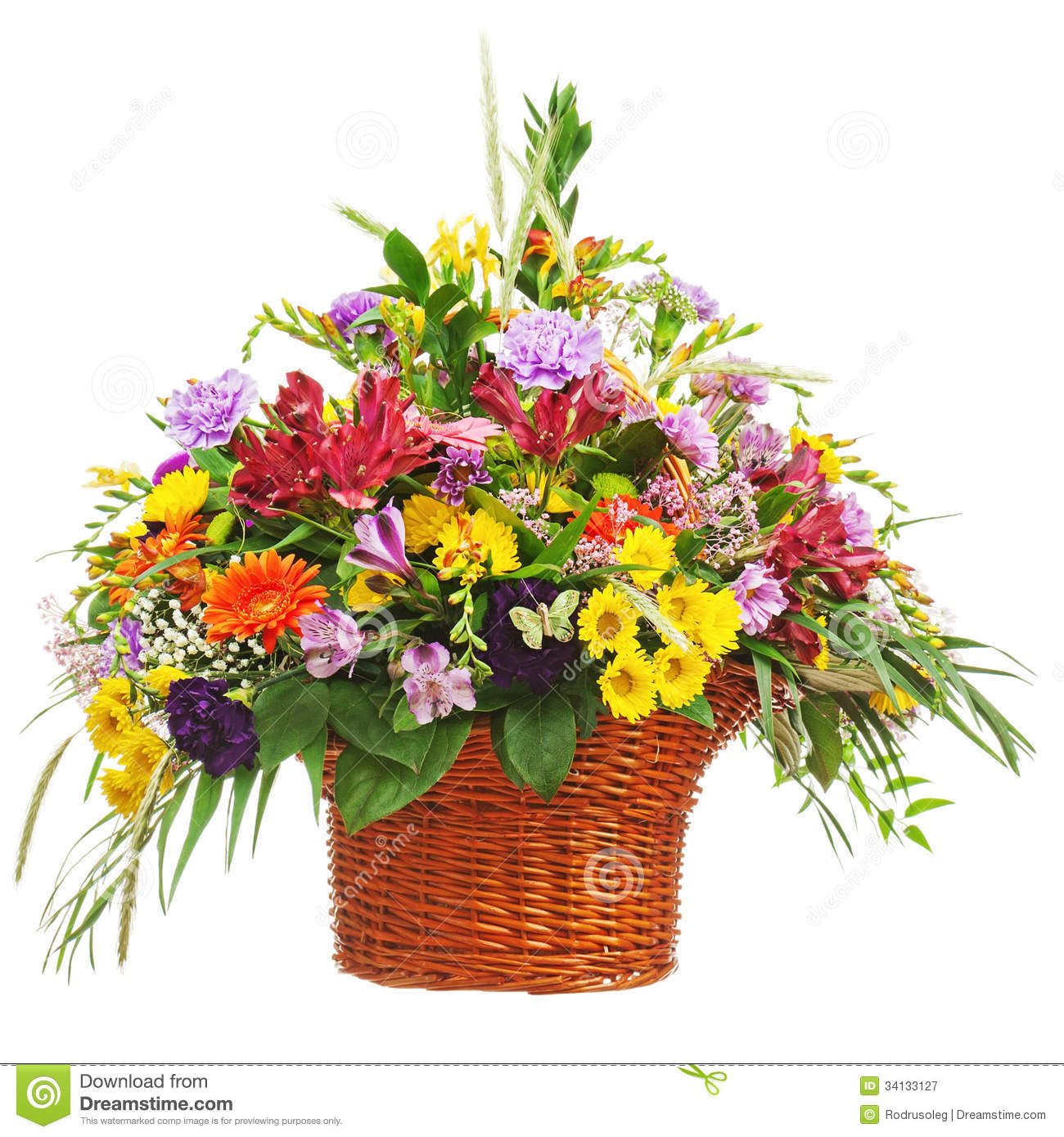 Flower Bouquet Arrangement Centerpiece In Wicker Basket