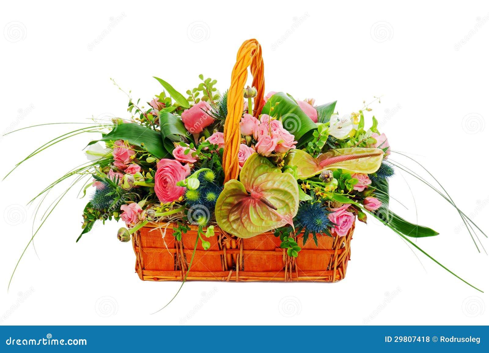 Flower Arrangements Gift Baskets : Flower bouquet arrangement centerpiece in a wicker gift